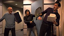 The White Knight, John Rowe, and the Red Knight, Alistair McGowan, do battle, with Alison Craig doing spot effects