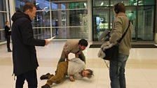 The arrest during episode 4: Craig Cheetham, David Crellin and Hugo Speer