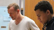 Hugo Speer as DCI Stone and Darious Anderson playing Theo in episode 2 of the series