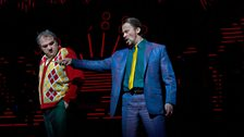 """Željko Lucic as the title character and Stefan Kocán as Sparafucile in Verdi's """"Rigoletto."""""""