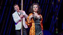 "Piotr Beczala as the Duke and Oksana Volkova as Maddalena in Verdi's ""Rigoletto."""