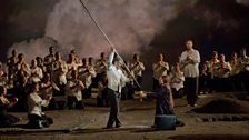 """Jonas Kaufmann (centre) as the title character, Katarina Dalayman as Kundry, and René Pape as Gurnemanz in Wagner's """"Parsifal."""""""
