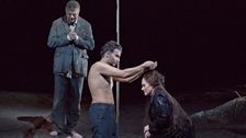 """René Pape as Gurnemanz, Jonas Kaufmann as the title character and Katarina Dalayman as Kundry in Wagner's """"Parsifal."""""""