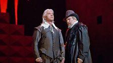 """Dmitri Hvorostovsky as Rodrigo and Ferruccio Furlanetto as Philip II of Verdi's """"Don Carlo."""""""