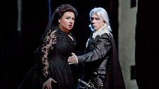 "Anna Smirnova as Eboli and Dmitri Hvorostovsky as Rodrigo in Verdi's ""Don Carlo."""