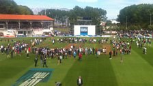 Crowd on the outfield at Dunedin