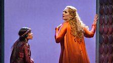 "Ginger Costa-Jackson as Smaragdi and Eva-Maria Westbroek in the title role of Zandonai's ""Francesca da Rimini."""