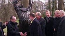 Image for A statue of St Columba is unveiled at St Columb's Park in Derry