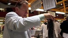 Image for Michael Portillo puts in a shift at the oldest fish market in Britain