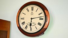 Clock in Guy Gibson's office showing the time he left the office