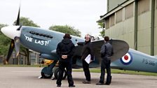Image for Spitfire pilot Duncan Mason starts his engine