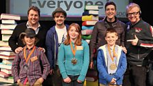 Our 10-13 years Gold, Silver and Bronze winners with Chris and readers Michael Ball, Barney Harwood and Oliver Phelps