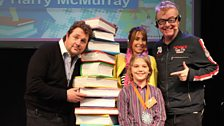 Silver 10-13 years winner Harry McMurray with Chris and Michael Ball, who read his story 'Making Mum and Dad'
