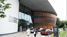 Audience arrives at the Royal Welsh College of Music and Drama.