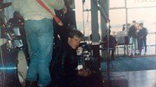 Hefin Huws efo Offspring yn Pier Llandudno. A chefn Les Morrisson