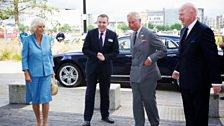 Second from left - Rhodri Talfan Davies (Director, BBC Cymru Wales) welcomes the royal couple.