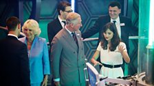 With Steven Moffat (Exec Producer and Lead Writer) in the background, Jenna Coleman explains the TARDIS to HRH Prince Charles.