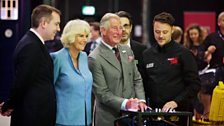 HRH Prince Charles is at the controls as special effects supervisor Danny Hargreaves (far right) looks on.