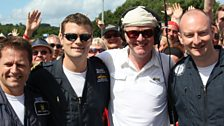 """Chris with the Royal Navy's display team the """"Black Cats""""."""