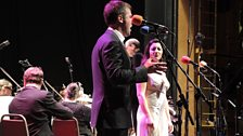 Leila Benn Harris and Geronimo Rauch, on stage with their haunting performance of Phantom of the Opera.
