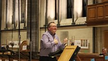 Roger Sayer expressing his point to Temple Church Choir on 19th December 2013