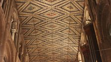 The Cathedral's painted wooden ceiling
