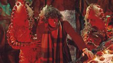 The Doctor in trouble in Terror of the Zygons.