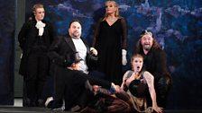 Kiandra Howarth as Echo, Wynne Evans as Scaramuccio, Karita Mattila as Ariadne, Archibald as Zerbinetta