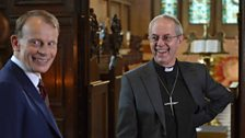 The Archbishop of Canterbury Justin Welby chats to Andrew before his interview at Lambeth Palace, 10th July 2014