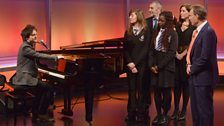 Jamie Callum with students from Commonweal School