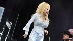 Dolly Parton on the Pyramid stage