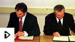 British Prime Minister Tony Blair and Irish Taoiseach Bertie Ahern sign the Good Friday Agreement (Press Association)
