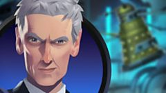 Graphic of the Doctor with a Dalek in the background
