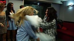 The Saturdays have a pillow fight
