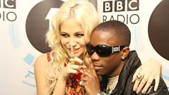 Tinchy Stryder and Pixie Lott backstage at the Teen Awards