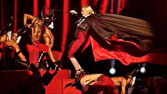 Madonna falls on stage at the Brit Awards