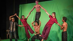 Acrobats filming for Rocking Cambodia