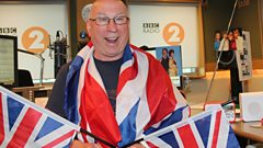 Ken Bruce in Union Jack flags