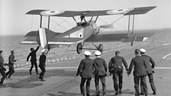 Squadron Commander E H Dunning attempting to land his Sopwith Pup