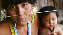 A woman and her child from the Yanomami tribe