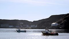 Fishing boats offshore from the Llŷn Peninsula