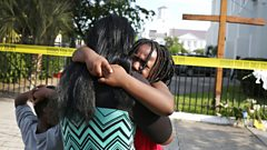 Mourners outside church in Charleston
