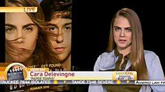 Cara Delevingne interviewed on US television