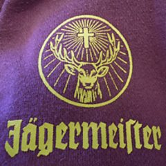 Jagermeister logo on the left arm of the hoodie