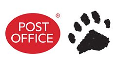 Post Office logo and a Pudsey Pawprint