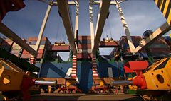Crane lifting containers