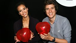 Image for Fri 12th Feb - Jessica Alba and her heart shaped balloons