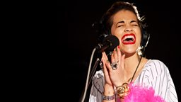 Image for Friday: Rita Ora in the Live Lounge