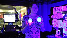 Image for Juggling with balls. Glowing balls.