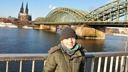 Photo: Niklas by The Rhine, with Cologne Cathedral in the background